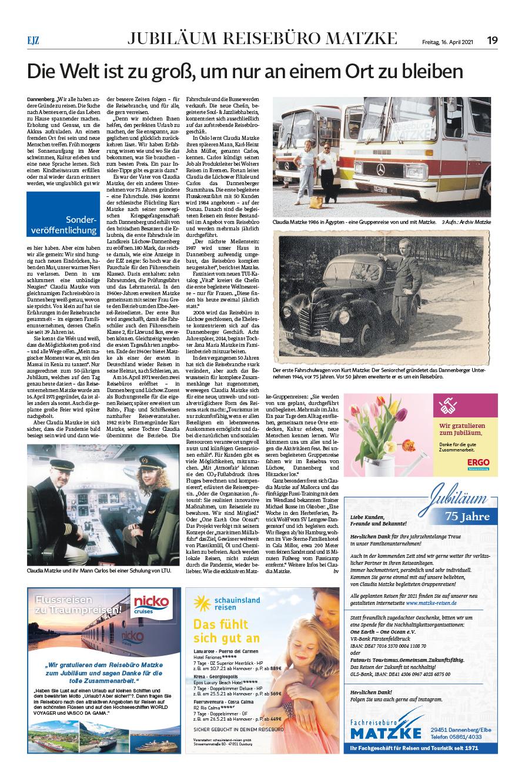 Der Artikel in der Elbe-Jeetzel-Zeitung berichtet über die lange Geschichte, die das Reisebüro Matzke im Wendland schon durchlebt hat.